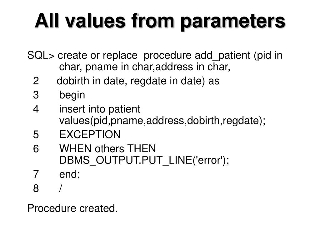 All values from parameters