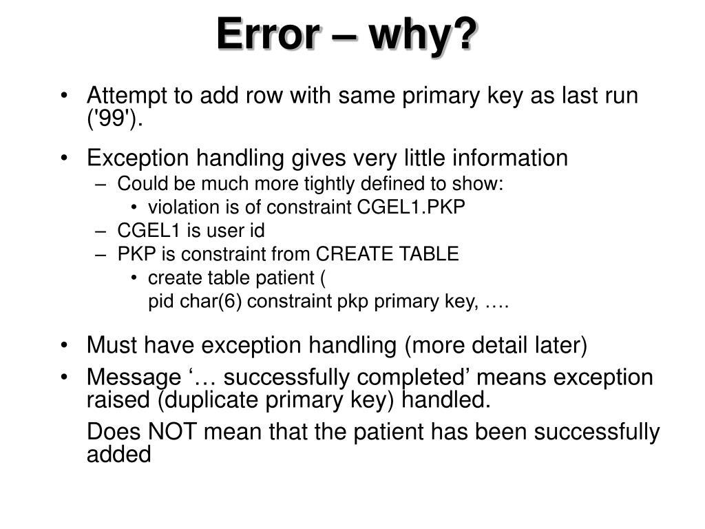 Error – why?