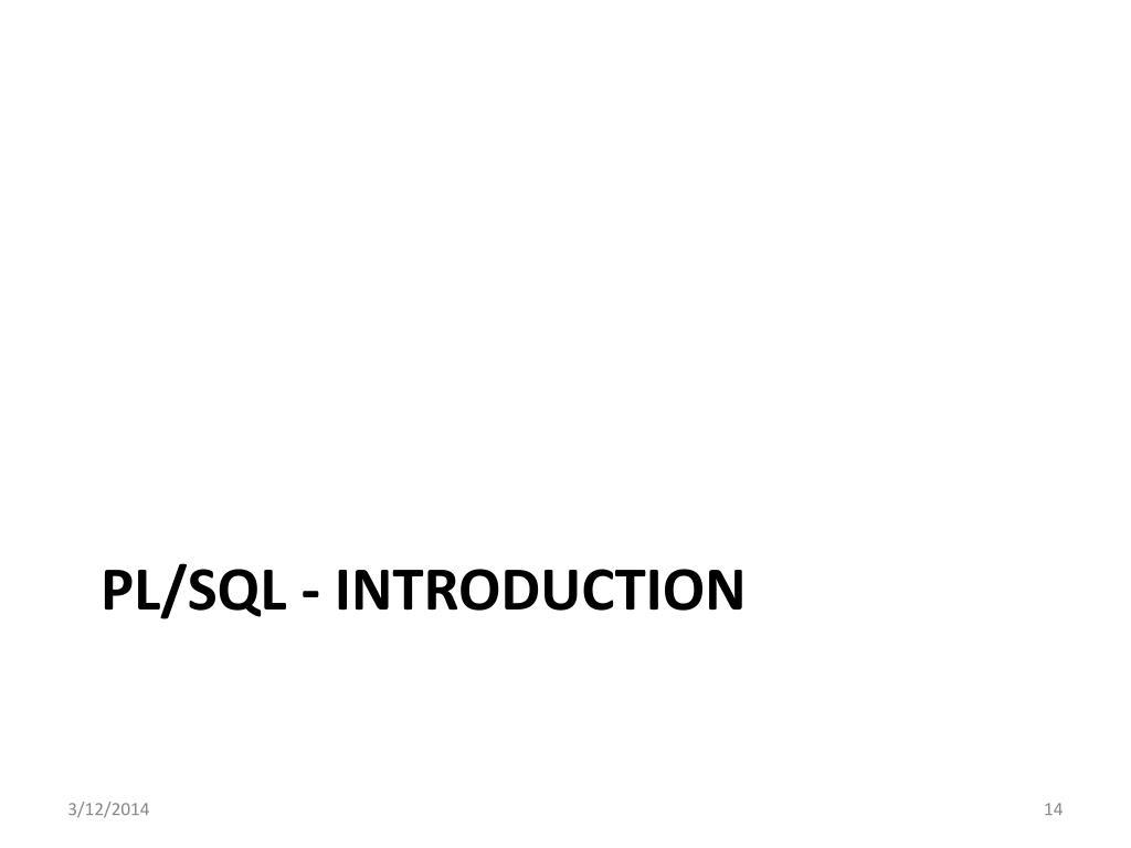 PL/SQL - introduction