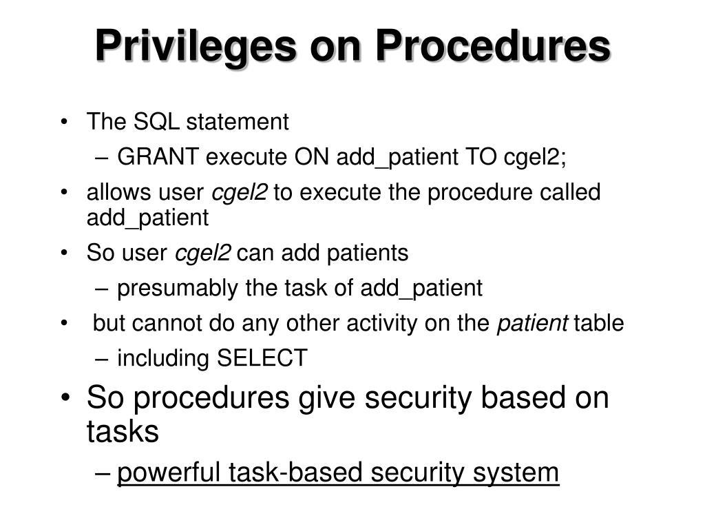 Privileges on Procedures