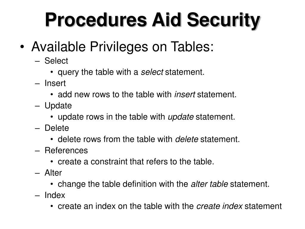 Procedures Aid Security