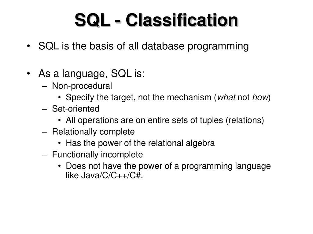 SQL - Classification