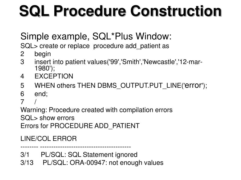 SQL Procedure Construction