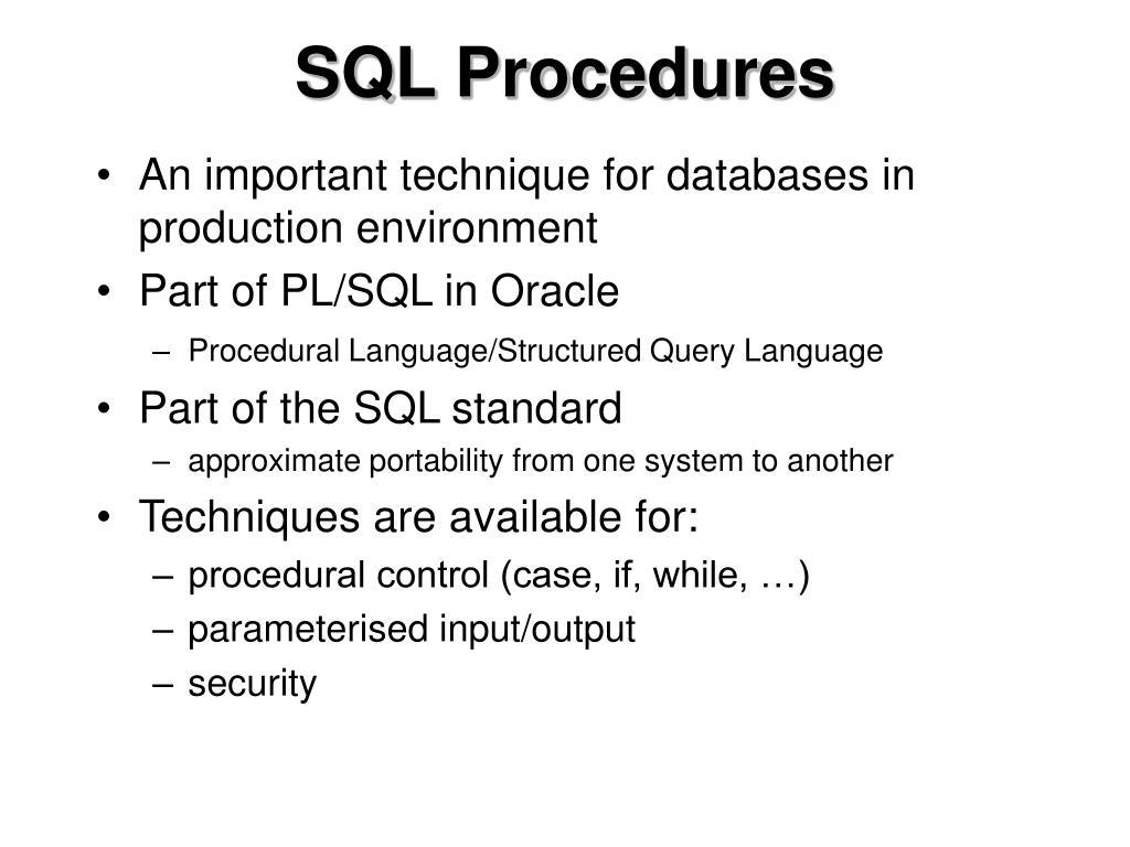 SQL Procedures