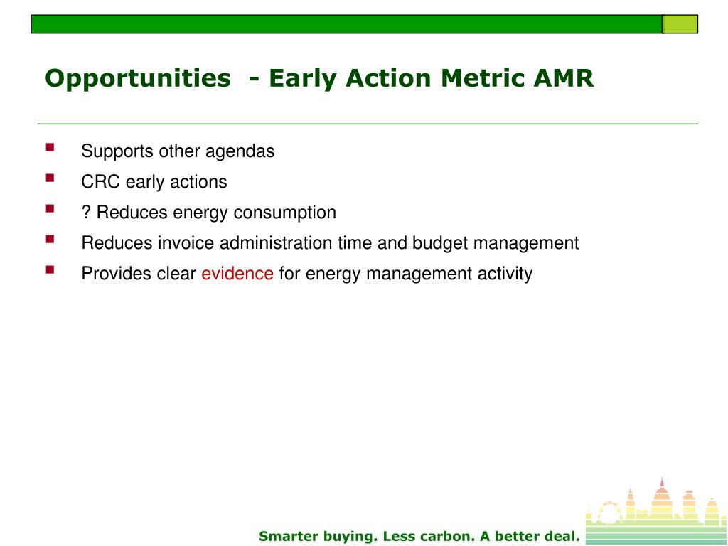 Opportunities  - Early Action Metric AMR