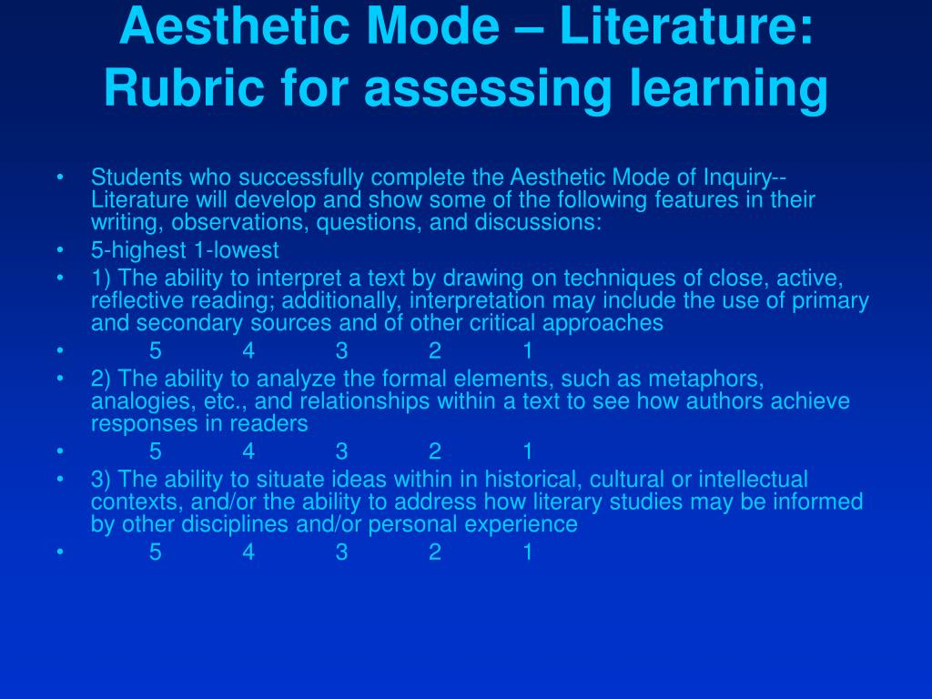 Aesthetic Mode – Literature: Rubric for assessing learning