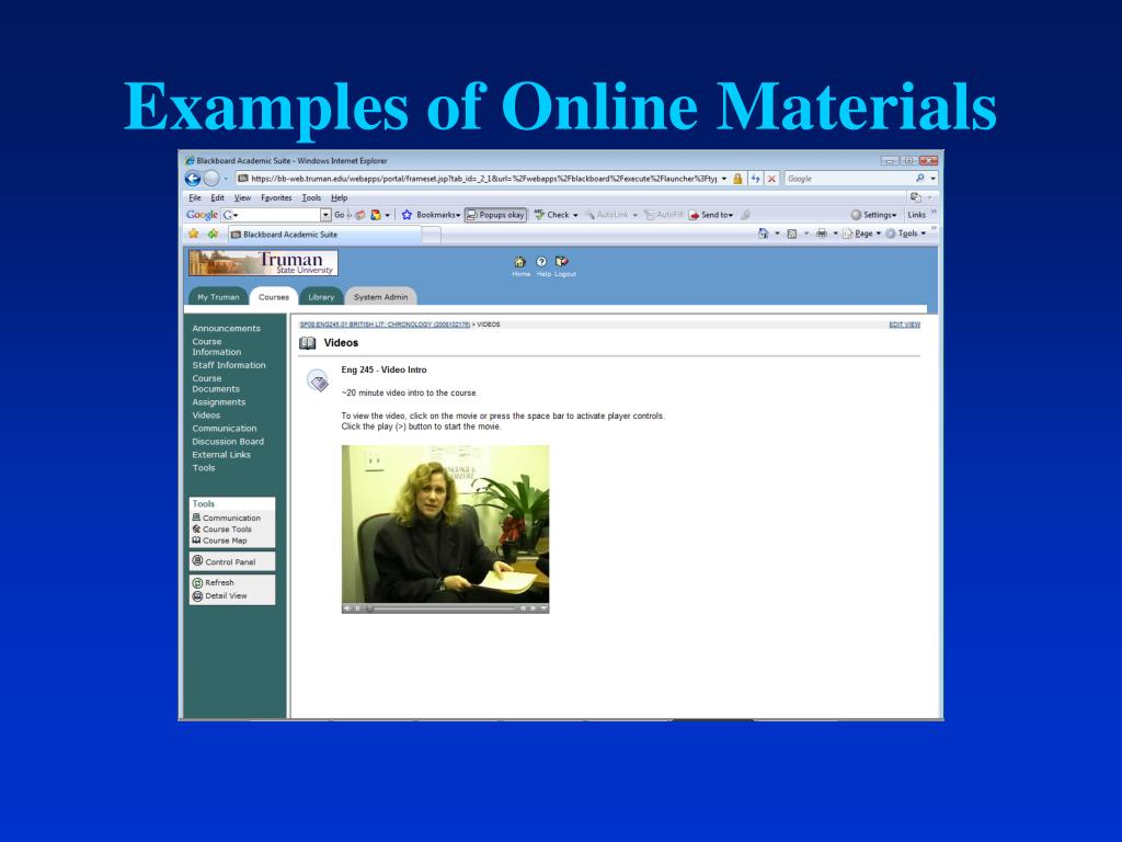 Examples of Online Materials