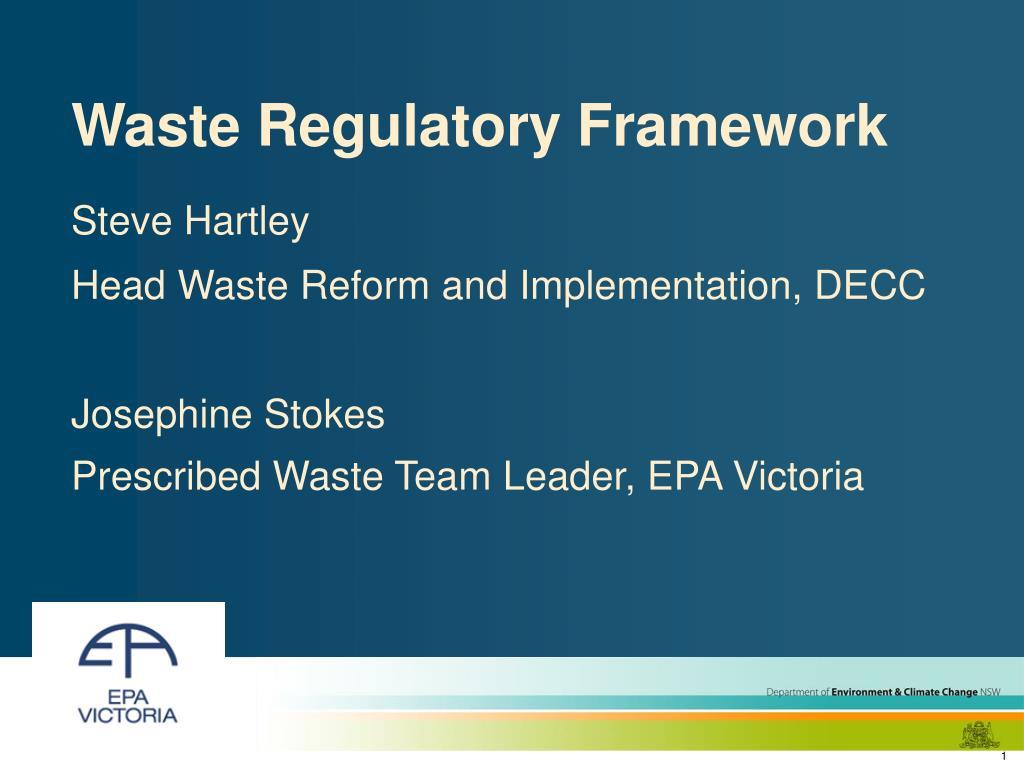waste regulatory framework l.