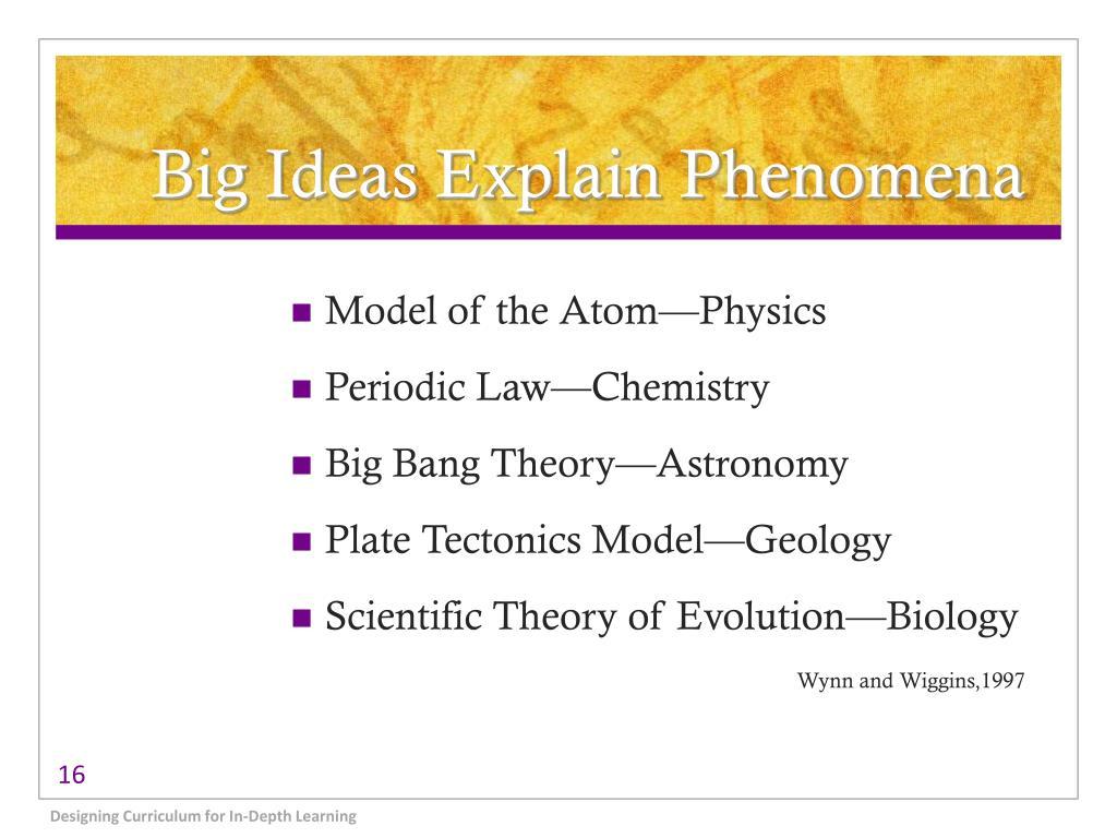 Big Ideas Explain Phenomena