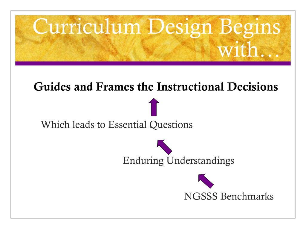 Curriculum Design Begins with…