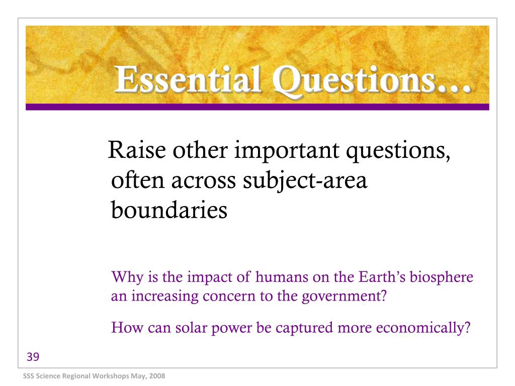 Essential Questions…