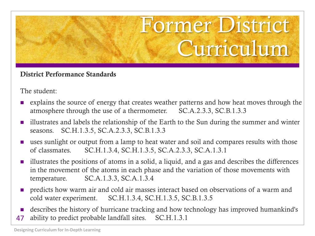 Former District Curriculum
