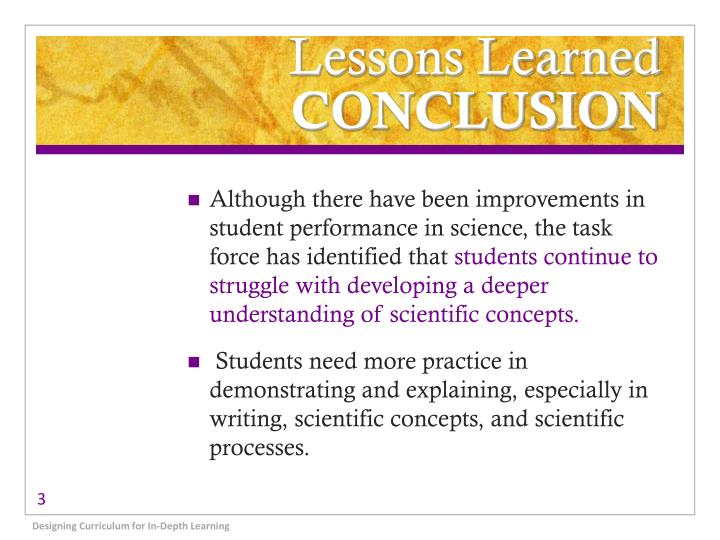 Lessons learned conclusion