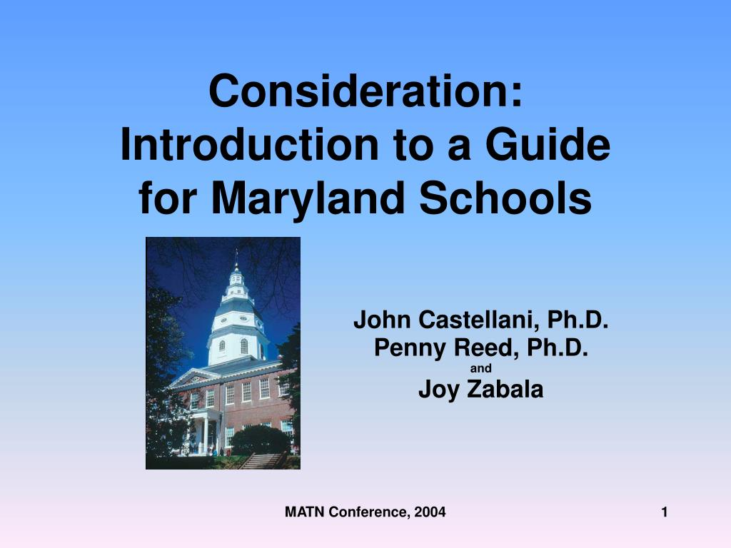 consideration introduction to a guide for maryland schools