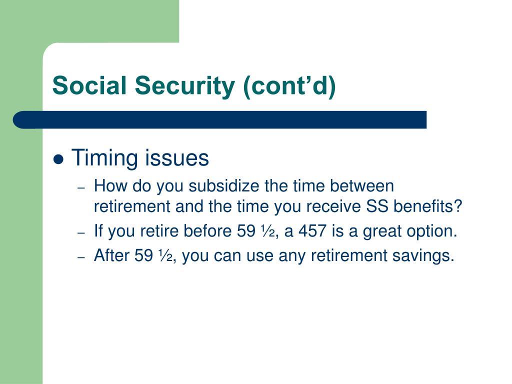 Social Security (cont'd)