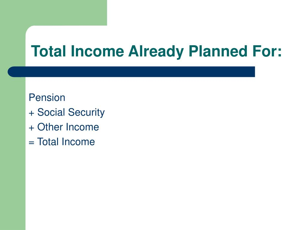 Total Income Already Planned For: