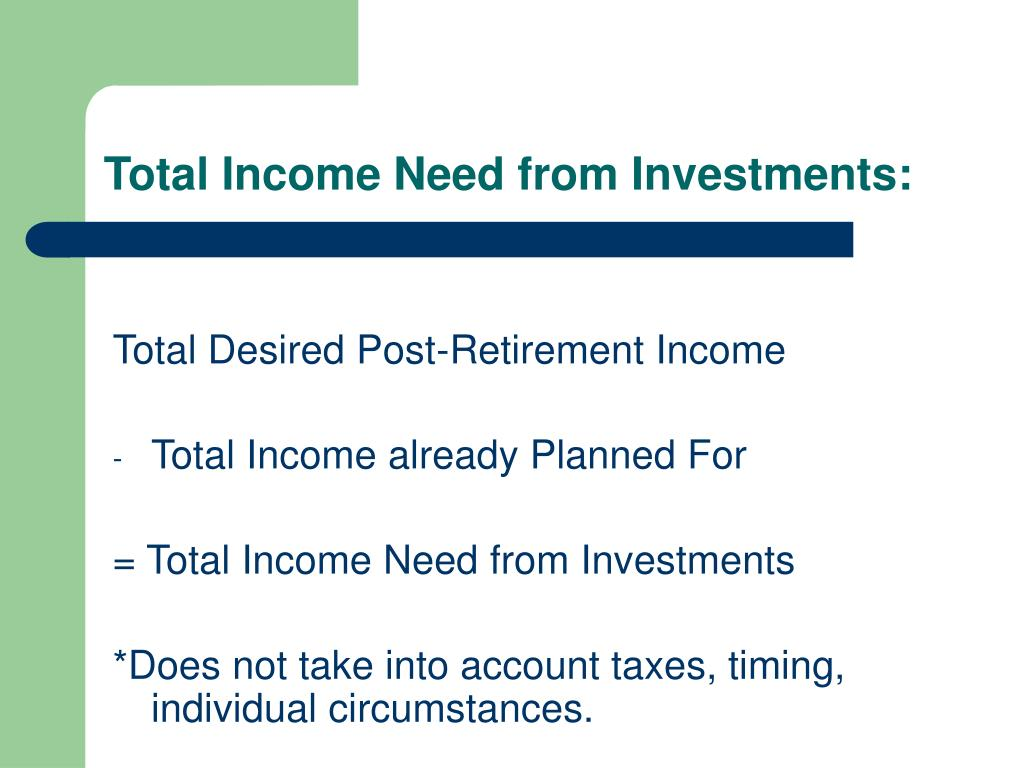 Total Income Need from Investments: