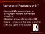 activation of receptors by nt