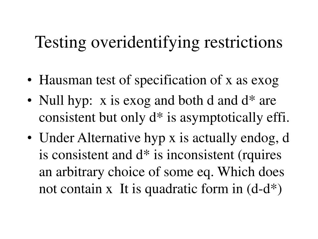 Testing overidentifying restrictions