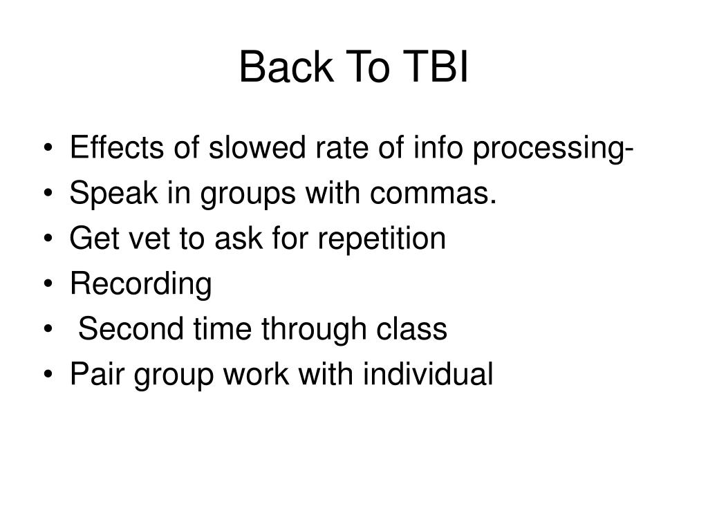Back To TBI