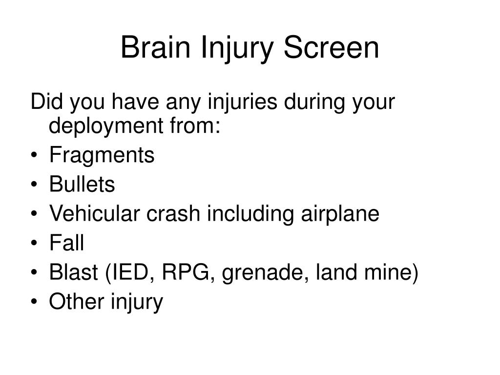 Brain Injury Screen