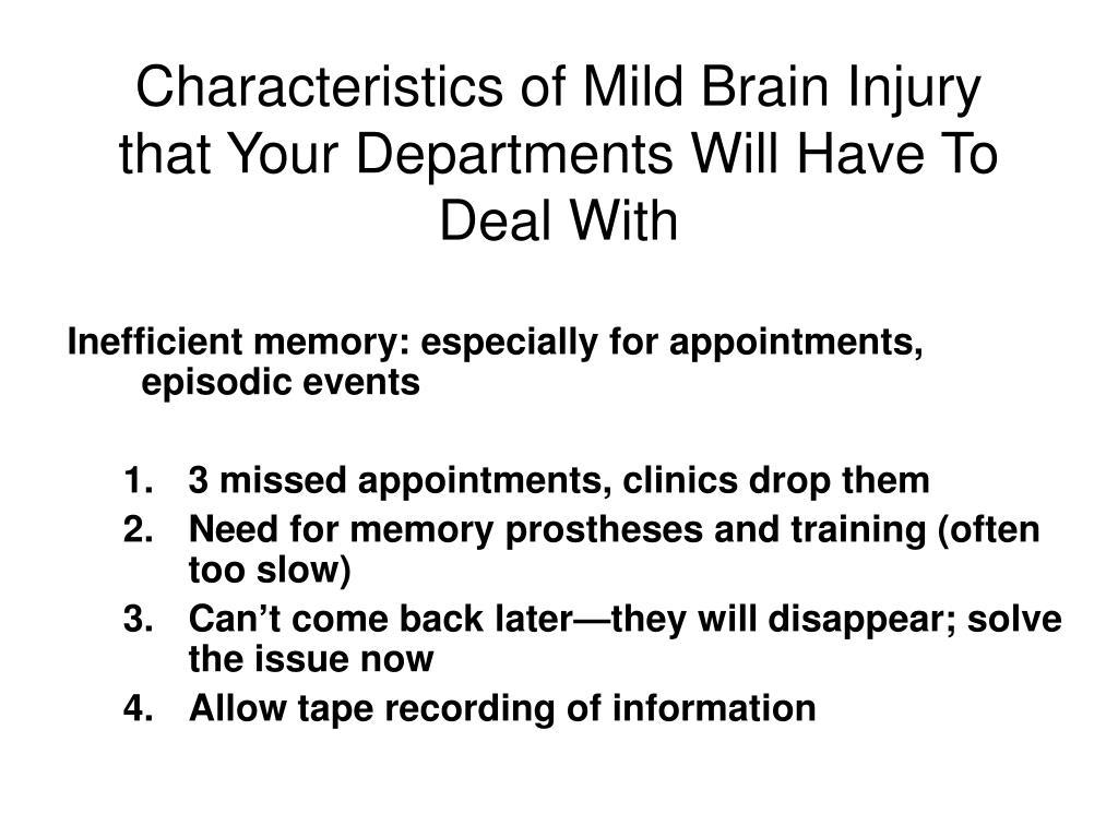 Characteristics of Mild Brain Injury