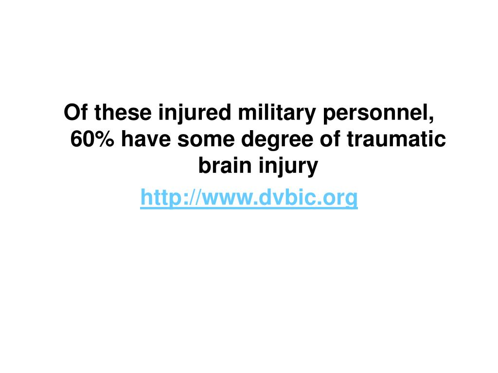 Of these injured military personnel, 60% have some degree of traumatic brain injury