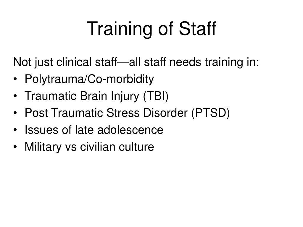 Training of Staff