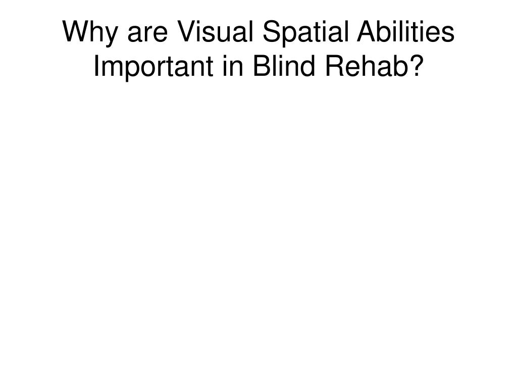 Why are Visual Spatial Abilities Important in Blind Rehab?