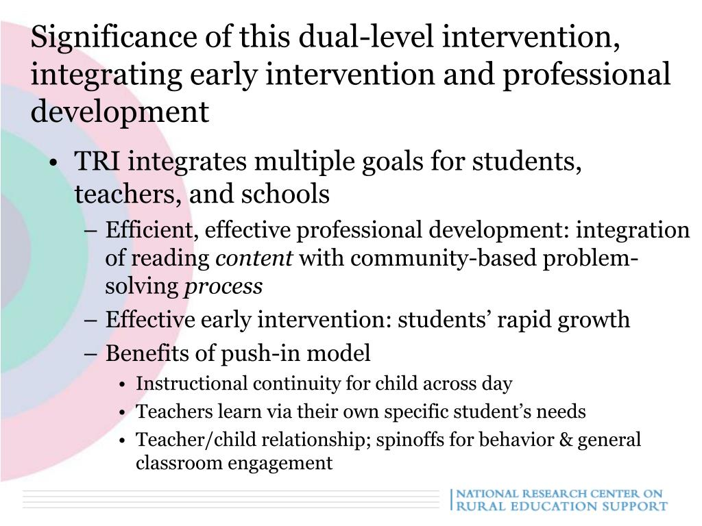 Significance of this dual-level intervention, integrating early intervention and professional development