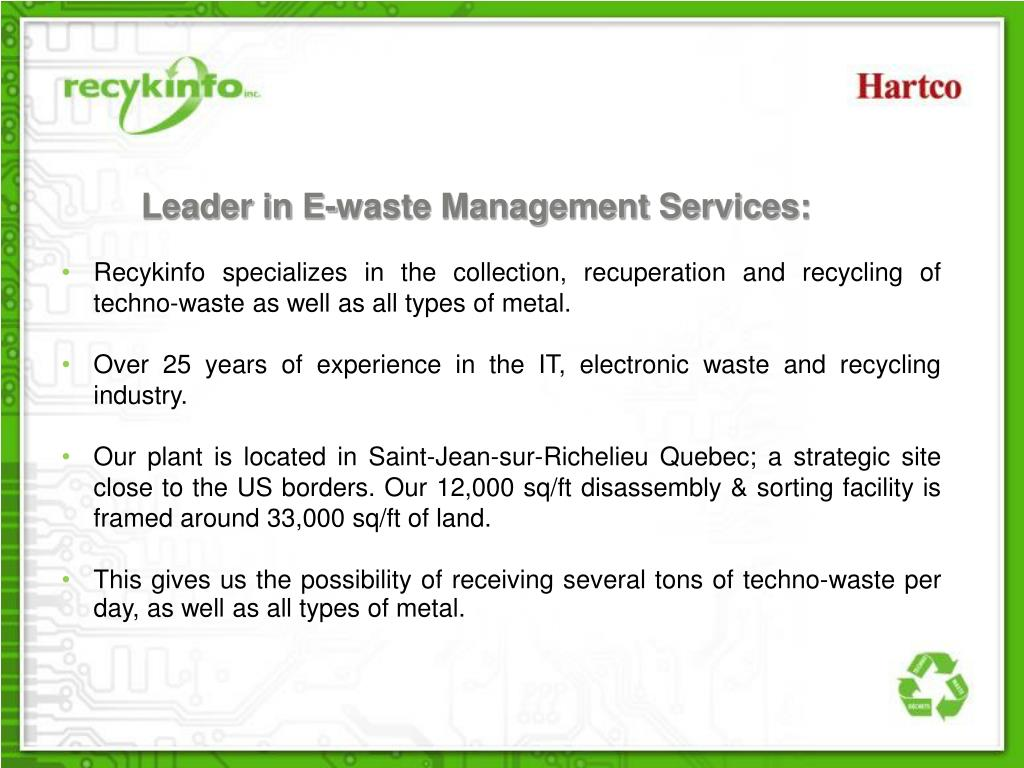 Leader in E-waste Management Services: