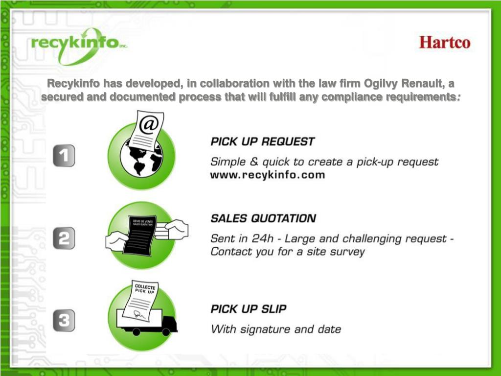 Recykinfo has developed, in collaboration with the law firm Ogilvy Renault, a secured and documented process that will fulfill any compliance requirements