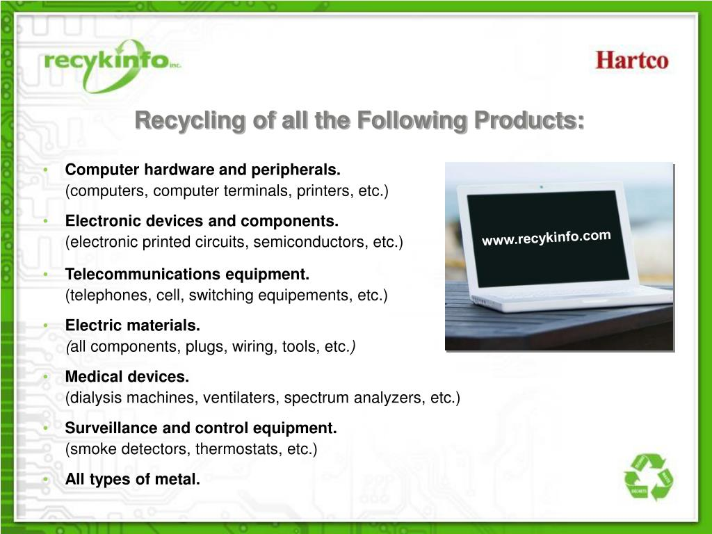 Recycling of all the Following Products: