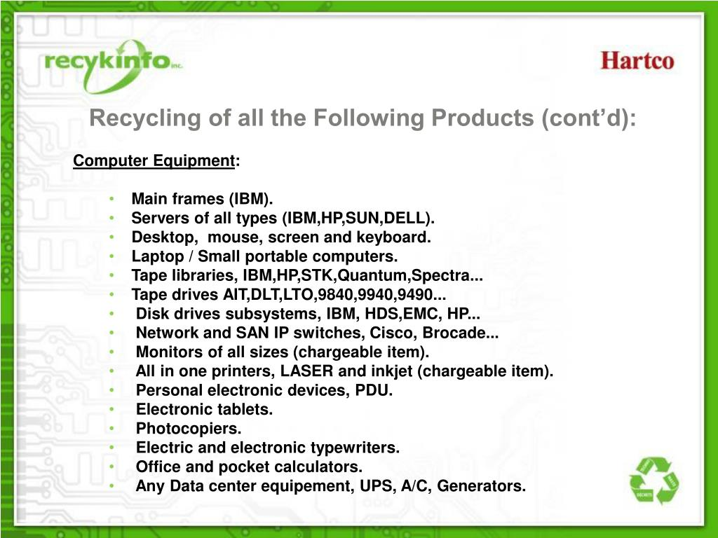 Recycling of all the Following Products (cont'd):