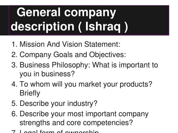 General company description ishraq