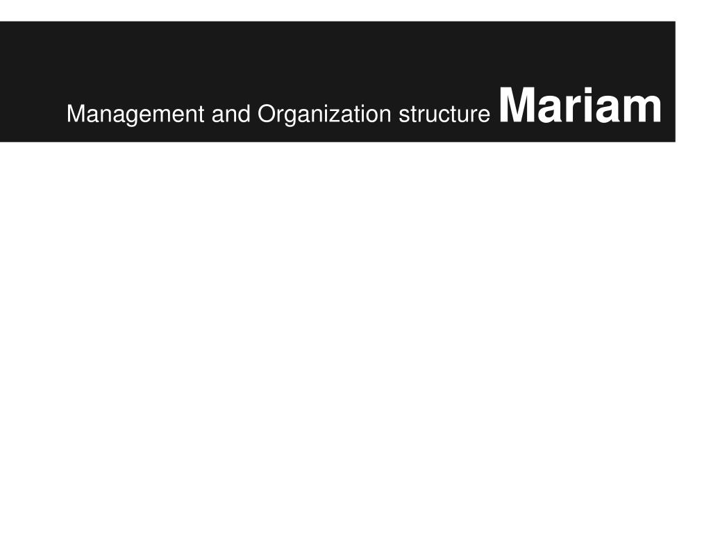 Management and Organization structure