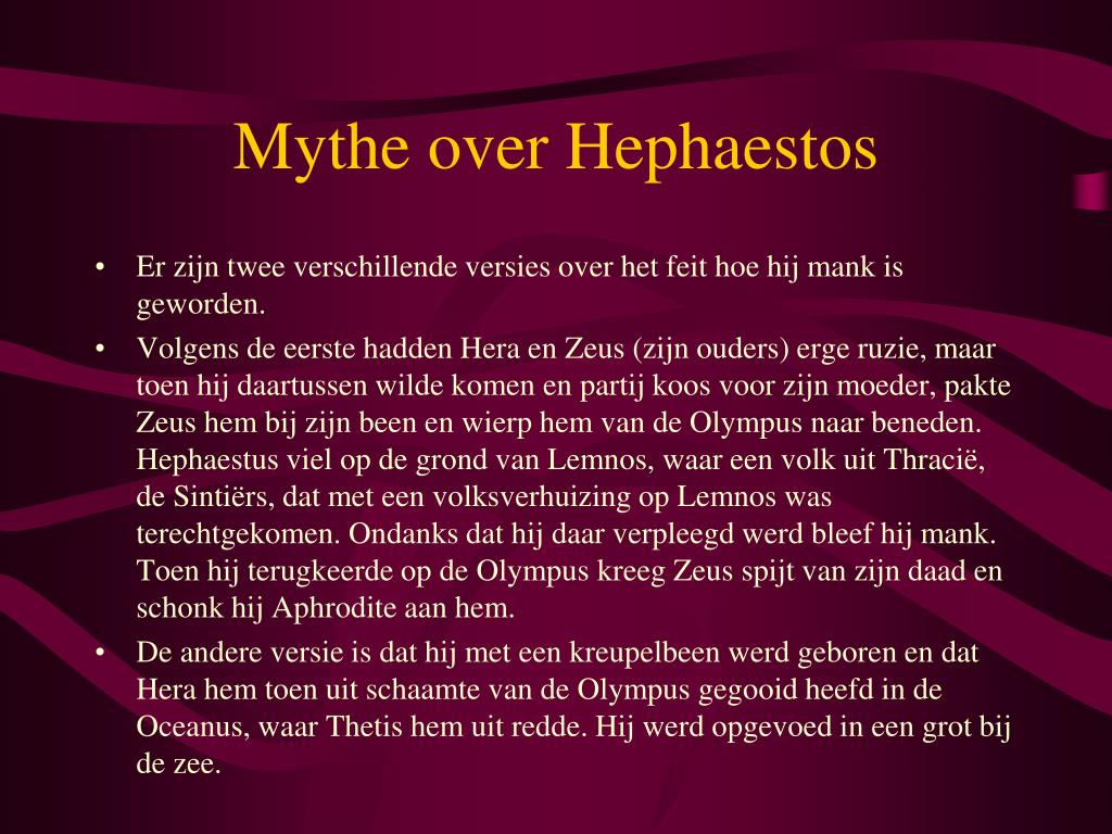 Mythe over Hephaestos