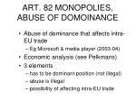art 82 monopolies abuse of domoinance
