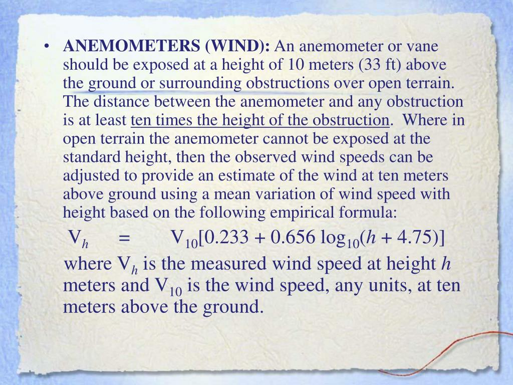 ANEMOMETERS (WIND):