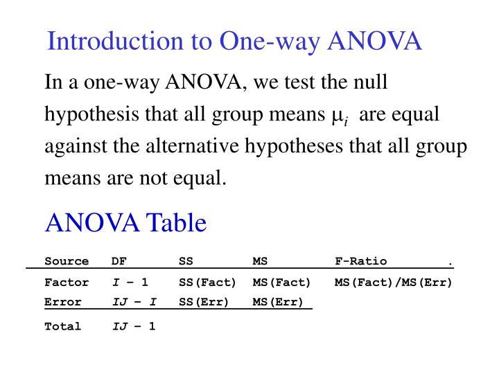 Introduction to one way anova