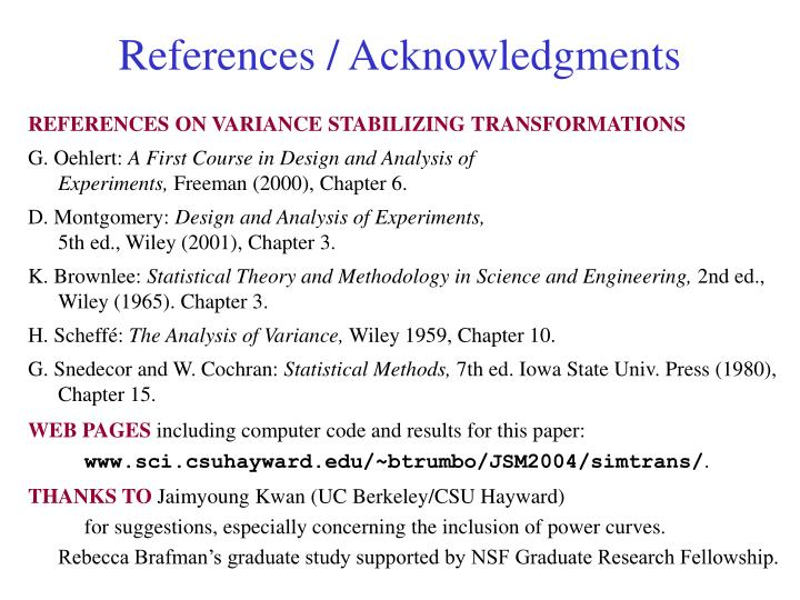References / Acknowledgments