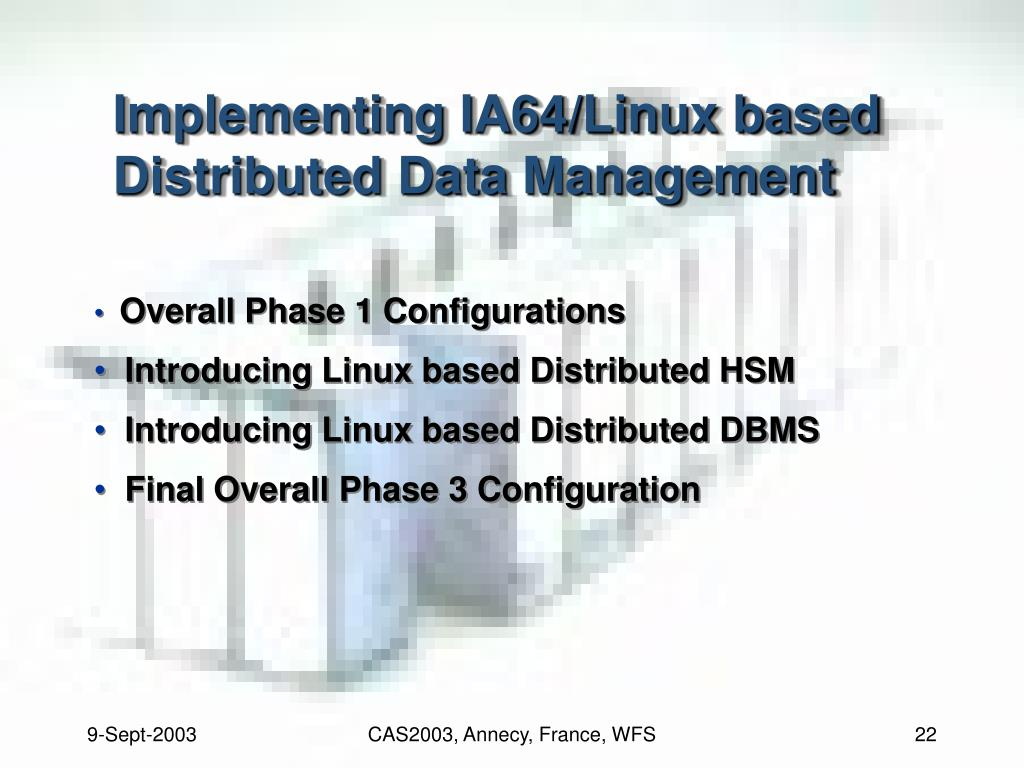 Implementing IA64/Linux based Distributed Data Management