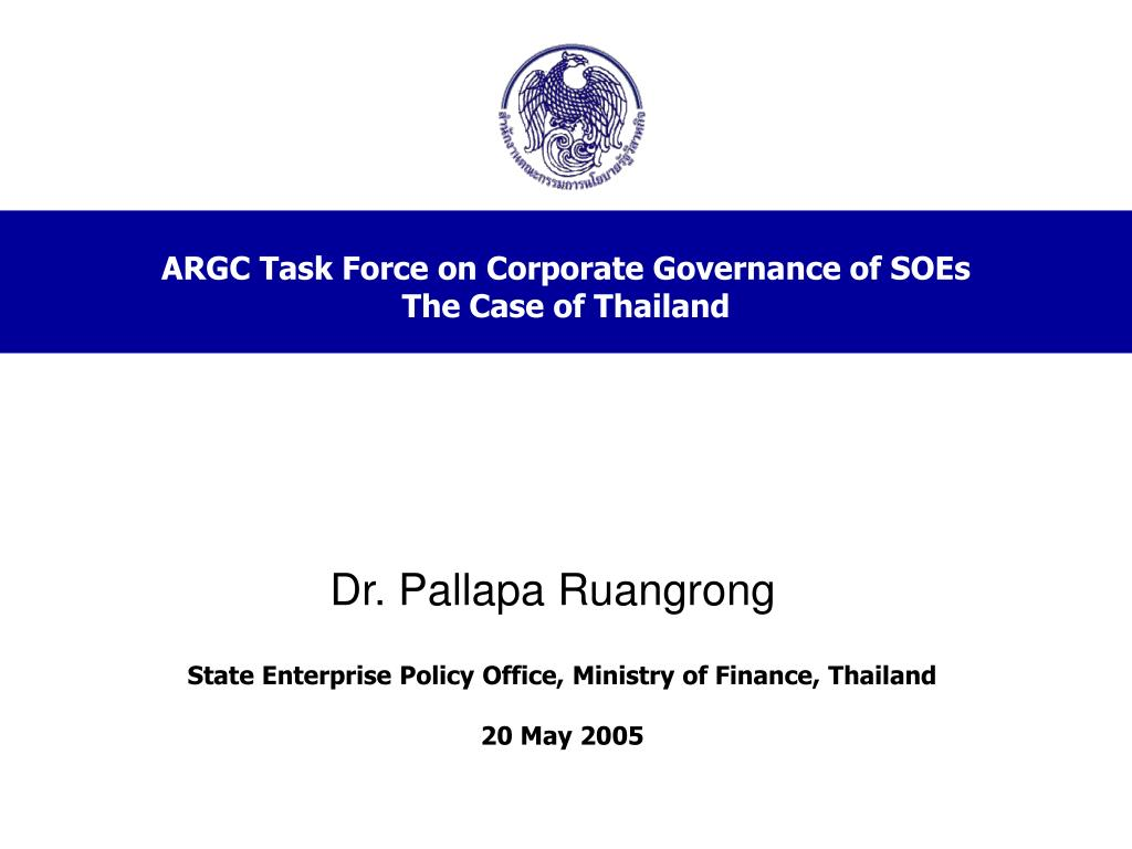 argc task force on corporate governance of soes the case of thailand l.