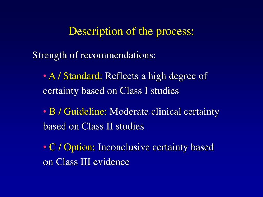Description of the process: