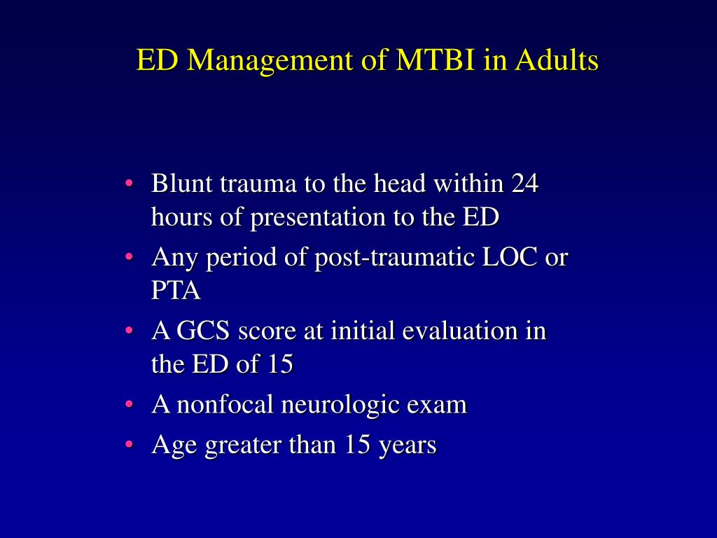 ED Management of MTBI in Adults