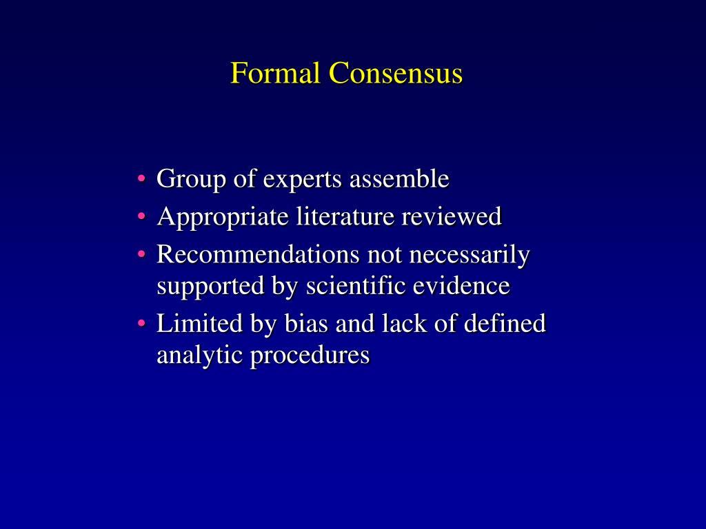 Formal Consensus