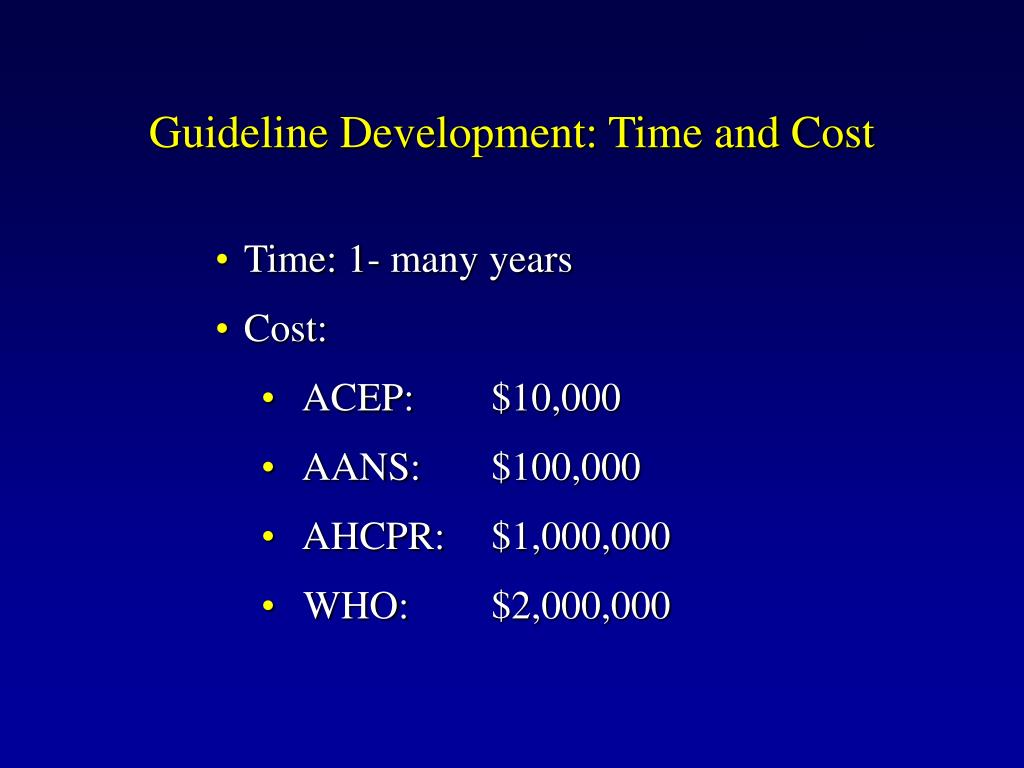 Guideline Development: Time and Cost