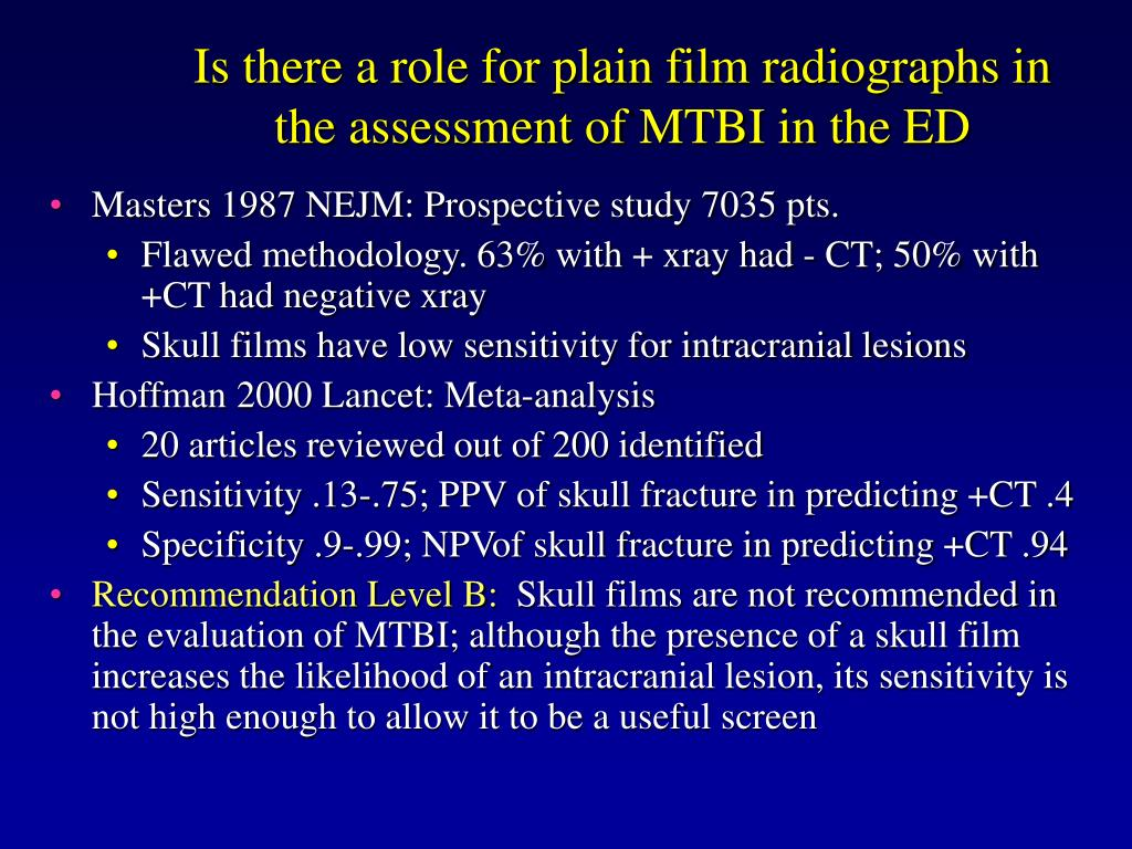 Is there a role for plain film radiographs in the assessment of MTBI in the ED