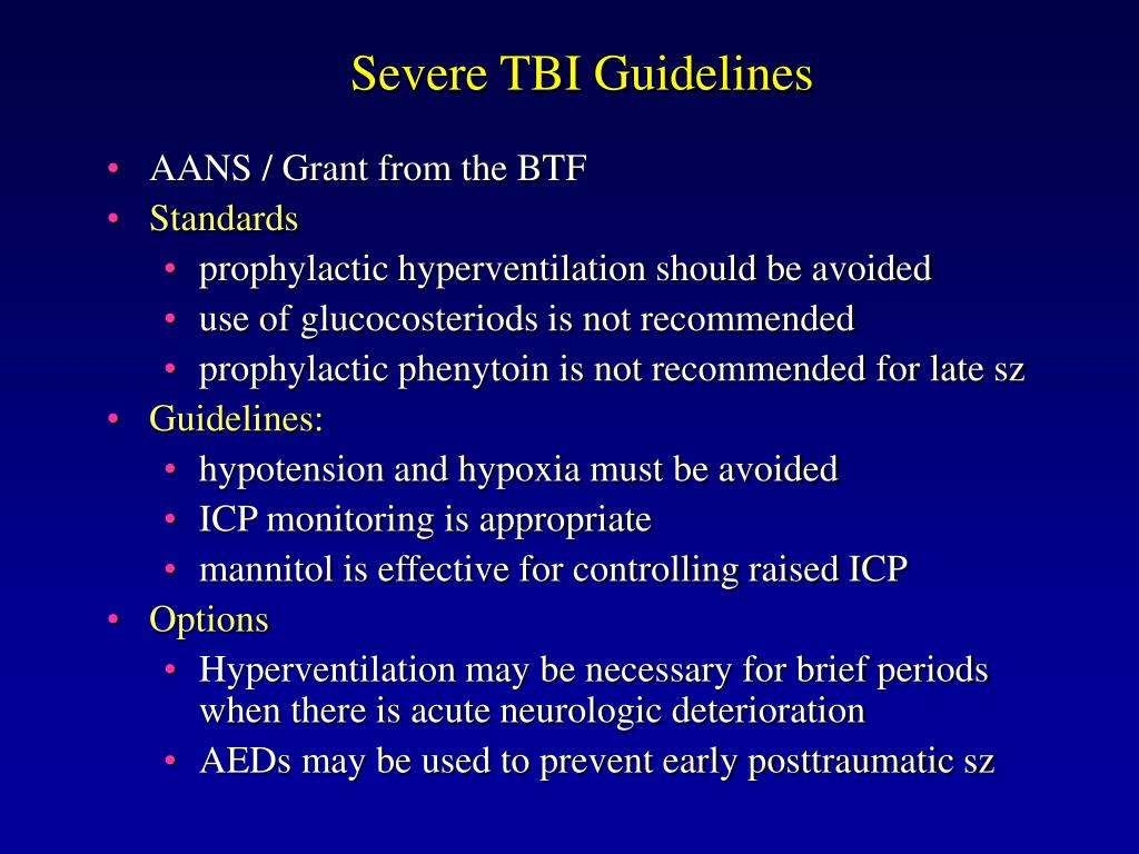 Severe TBI Guidelines