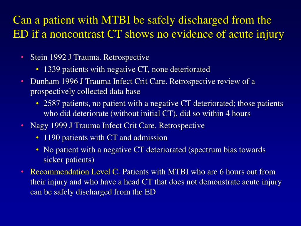 Can a patient with MTBI be safely discharged from the ED if a noncontrast CT shows no evidence of acute injury